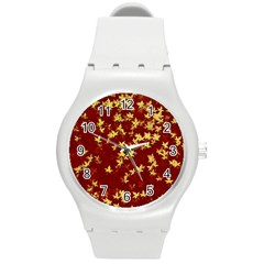 Background Design Leaves Pattern Round Plastic Sport Watch (m) by Simbadda