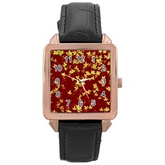 Background Design Leaves Pattern Rose Gold Leather Watch  by Simbadda
