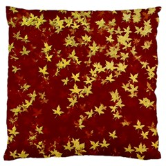 Background Design Leaves Pattern Large Flano Cushion Case (one Side) by Simbadda