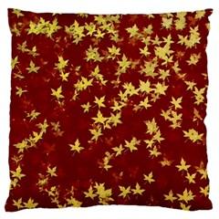Background Design Leaves Pattern Large Flano Cushion Case (two Sides) by Simbadda