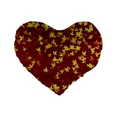 Background Design Leaves Pattern Standard 16  Premium Flano Heart Shape Cushions by Simbadda