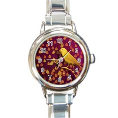 Bird Design Wall Golden Color Round Italian Charm Watch by Simbadda