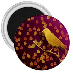 Bird Design Wall Golden Color 3  Magnets by Simbadda