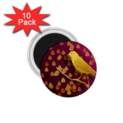 Bird Design Wall Golden Color 1 75  Magnets (10 Pack)  by Simbadda