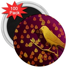 Bird Design Wall Golden Color 3  Magnets (100 Pack) by Simbadda