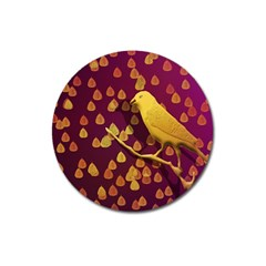 Bird Design Wall Golden Color Magnet 3  (round) by Simbadda