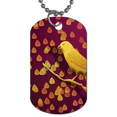 Bird Design Wall Golden Color Dog Tag (two Sides) by Simbadda