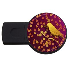 Bird Design Wall Golden Color Usb Flash Drive Round (4 Gb) by Simbadda