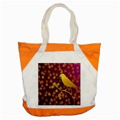 Bird Design Wall Golden Color Accent Tote Bag by Simbadda