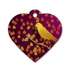 Bird Design Wall Golden Color Dog Tag Heart (one Side) by Simbadda