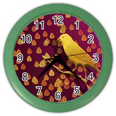 Bird Design Wall Golden Color Color Wall Clocks by Simbadda