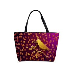 Bird Design Wall Golden Color Shoulder Handbags by Simbadda