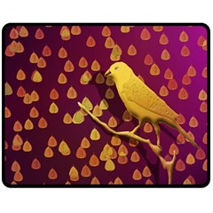 Bird Design Wall Golden Color Fleece Blanket (medium)  by Simbadda