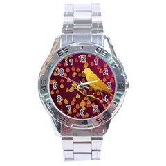 Bird Design Wall Golden Color Stainless Steel Analogue Watch by Simbadda