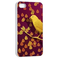 Bird Design Wall Golden Color Apple Iphone 4/4s Seamless Case (white) by Simbadda