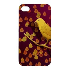 Bird Design Wall Golden Color Apple Iphone 4/4s Premium Hardshell Case by Simbadda