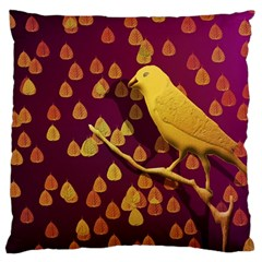 Bird Design Wall Golden Color Large Cushion Case (two Sides) by Simbadda