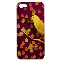 Bird Design Wall Golden Color Apple Iphone 5 Hardshell Case by Simbadda