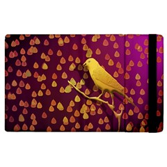 Bird Design Wall Golden Color Apple Ipad 3/4 Flip Case by Simbadda