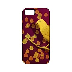 Bird Design Wall Golden Color Apple Iphone 5 Classic Hardshell Case (pc+silicone) by Simbadda