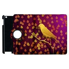 Bird Design Wall Golden Color Apple Ipad 2 Flip 360 Case by Simbadda