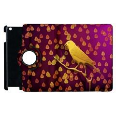 Bird Design Wall Golden Color Apple Ipad 3/4 Flip 360 Case by Simbadda