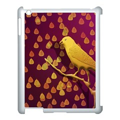 Bird Design Wall Golden Color Apple Ipad 3/4 Case (white) by Simbadda