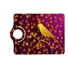 Bird Design Wall Golden Color Kindle Fire Hd (2013) Flip 360 Case by Simbadda