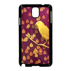 Bird Design Wall Golden Color Samsung Galaxy Note 3 Neo Hardshell Case (black) by Simbadda