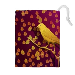 Bird Design Wall Golden Color Drawstring Pouches (extra Large) by Simbadda