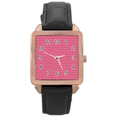 Background Letters Decoration Rose Gold Leather Watch  by Simbadda