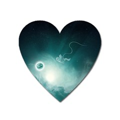 Astronaut Space Travel Gravity Heart Magnet by Simbadda