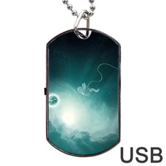 Astronaut Space Travel Gravity Dog Tag Usb Flash (one Side) by Simbadda
