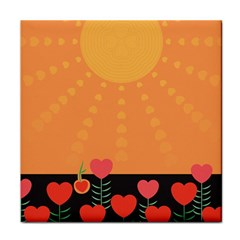 Love Heart Valentine Sun Flowers Tile Coasters by Simbadda