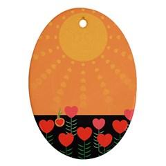 Love Heart Valentine Sun Flowers Ornament (oval) by Simbadda
