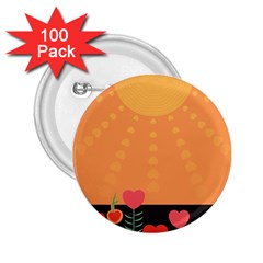 Love Heart Valentine Sun Flowers 2 25  Buttons (100 Pack)  by Simbadda