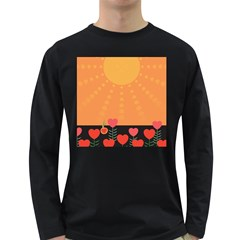 Love Heart Valentine Sun Flowers Long Sleeve Dark T Shirts by Simbadda