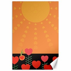 Love Heart Valentine Sun Flowers Canvas 20  X 30   by Simbadda