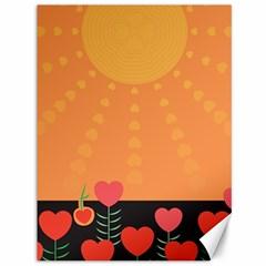 Love Heart Valentine Sun Flowers Canvas 36  X 48   by Simbadda