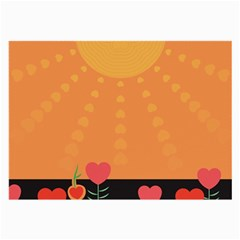 Love Heart Valentine Sun Flowers Large Glasses Cloth by Simbadda