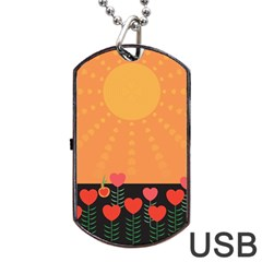 Love Heart Valentine Sun Flowers Dog Tag Usb Flash (one Side) by Simbadda