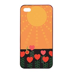 Love Heart Valentine Sun Flowers Apple Iphone 4/4s Seamless Case (black) by Simbadda
