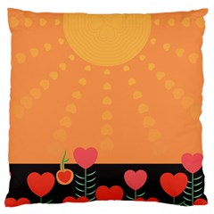 Love Heart Valentine Sun Flowers Large Cushion Case (two Sides) by Simbadda