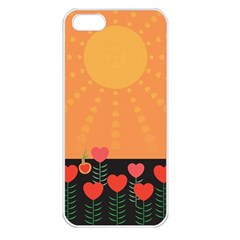 Love Heart Valentine Sun Flowers Apple Iphone 5 Seamless Case (white) by Simbadda