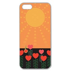 Love Heart Valentine Sun Flowers Apple Seamless Iphone 5 Case (clear) by Simbadda