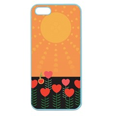 Love Heart Valentine Sun Flowers Apple Seamless Iphone 5 Case (color) by Simbadda