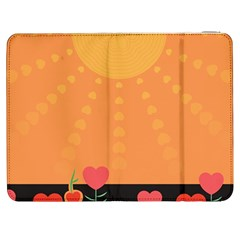 Love Heart Valentine Sun Flowers Samsung Galaxy Tab 7  P1000 Flip Case by Simbadda