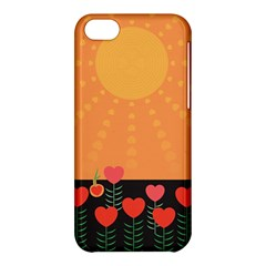 Love Heart Valentine Sun Flowers Apple Iphone 5c Hardshell Case by Simbadda