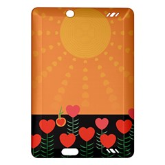 Love Heart Valentine Sun Flowers Amazon Kindle Fire Hd (2013) Hardshell Case by Simbadda