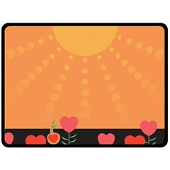 Love Heart Valentine Sun Flowers Double Sided Fleece Blanket (large)  by Simbadda